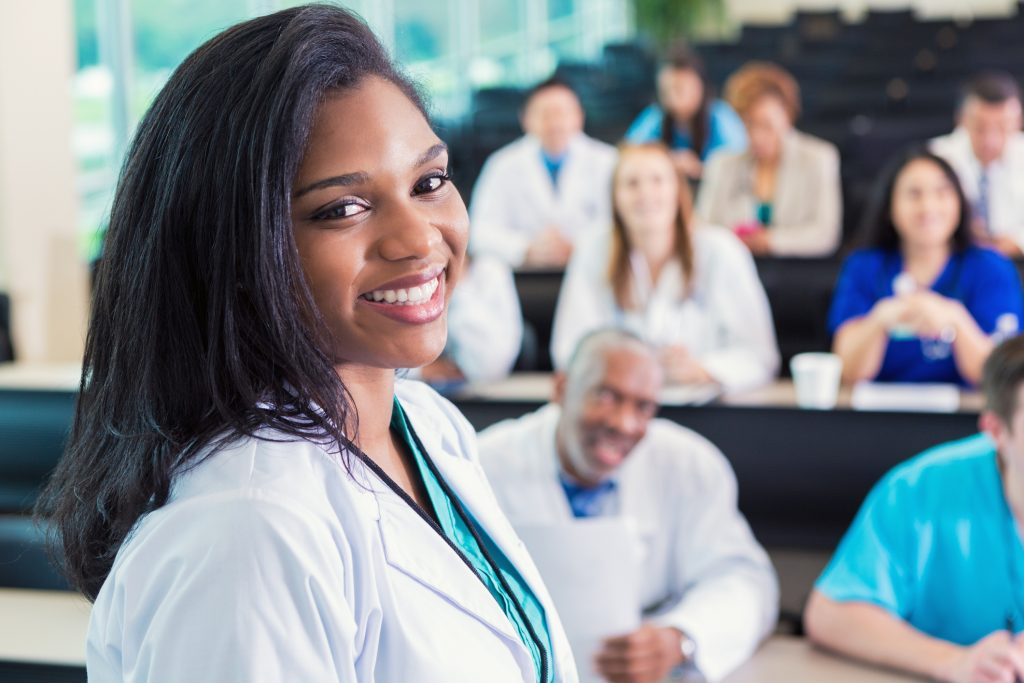 African American doctor or medical professional attending healthcare conference