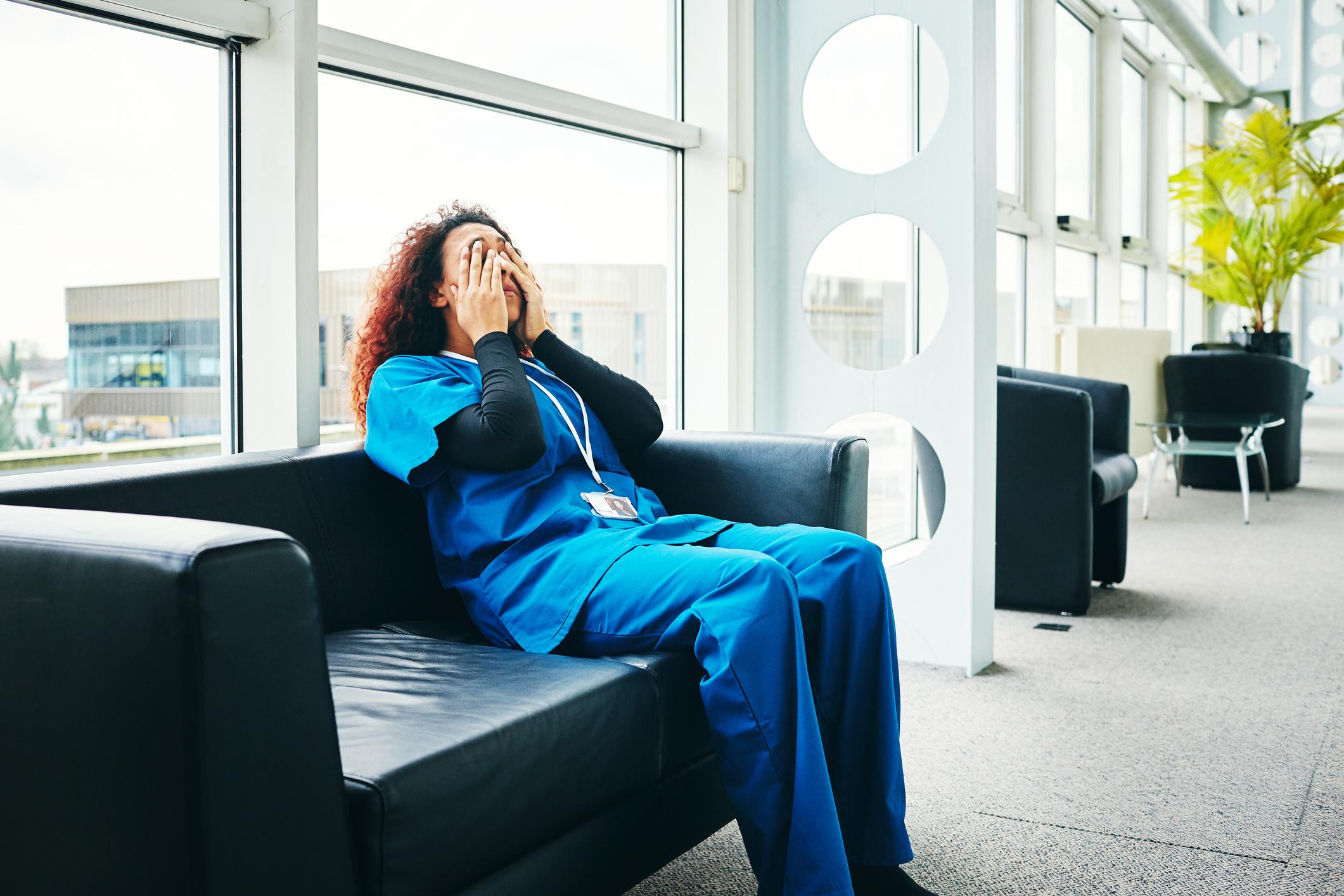 Stressed female medical taking break from work