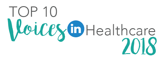 top 10 voices in healthcare badge